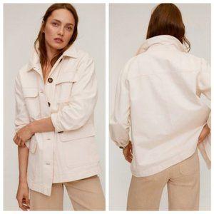 MANGO Ecru Cream Pocket Button Cotton Shacket